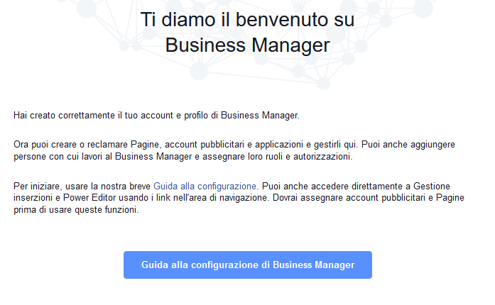 configurazione business manager