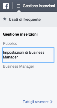 impostazioni business manager